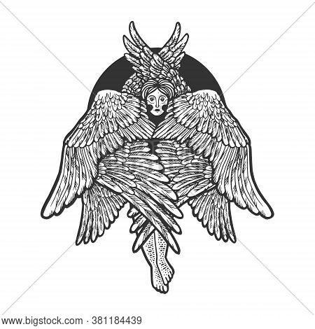 Cherub Religious Mythical Creature Sketch Engraving Vector Illustration. T-shirt Apparel Print Desig