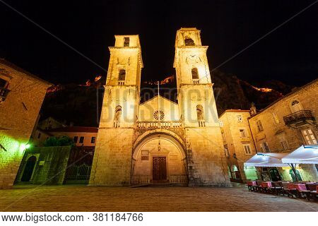 Saint Tryphon Cathedral Or Katedrala Svetog Tripuna Is A Roman Catholic Cathedral In Kotor Old Town