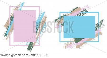 Grunge Frames With Paint Brush Strokes Vector Collection. Box Borders With Painted Brushstrokes Back