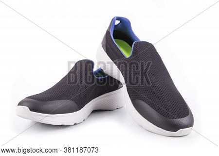 Black Sneakers Or Sport Running Shoe Isolated On A White Background