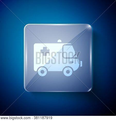 White Ambulance And Emergency Car Icon Isolated On Blue Background. Ambulance Vehicle Medical Evacua
