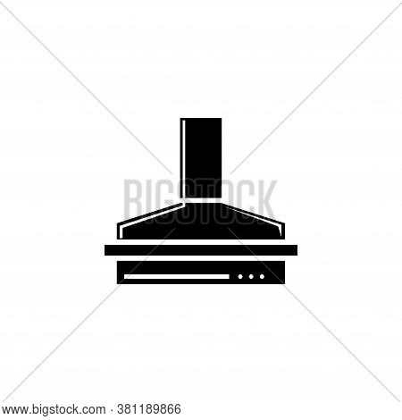 Kitchen Hood, Exhaust Range Air Filter. Flat Vector Icon Illustration. Simple Black Symbol On White
