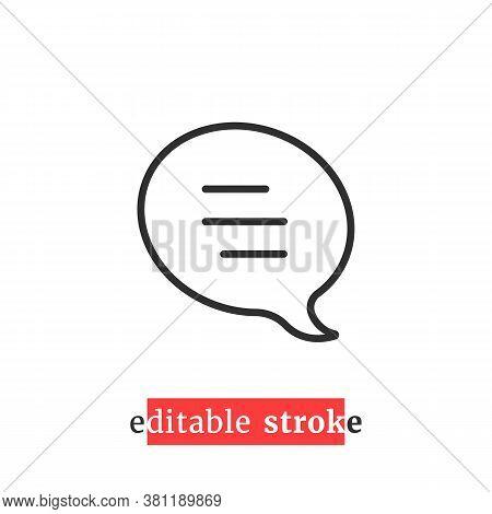 Minimal Editable Stroke Speech Bubble Icon. Concept Of Single Communication Popup Button Shape For W