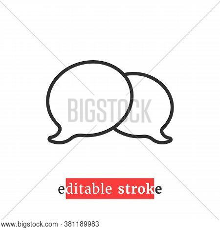 Minimal Editable Stroke Chat Room Icon. Flat Change Line Thickness Style Modern Logotype Graphic Des