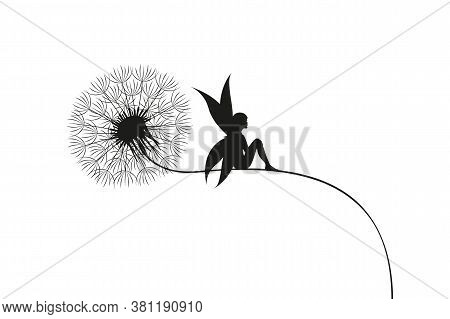 Fairy Sits On A Dandelion Silhouette Vector Illustration Eps10