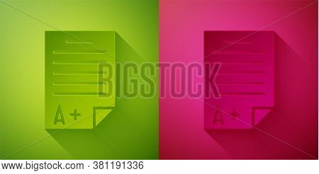 Paper Cut Exam Sheet With A Plus Grade Icon Isolated On Green And Pink Background. Test Paper, Exam,