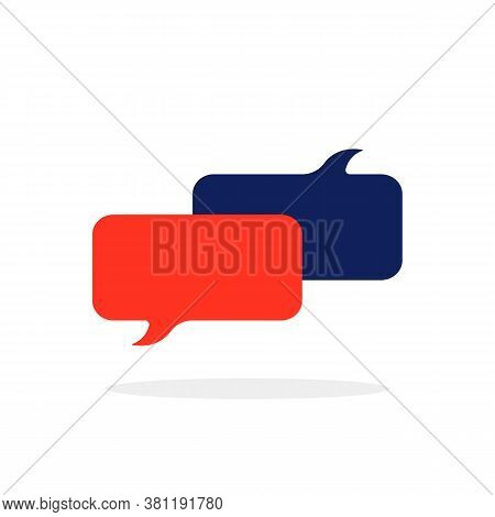 Colored Chat Room Icon With Popup. Flat Cartoon Style Trend Modern 2 Spech Buble Shape Logotype Grap