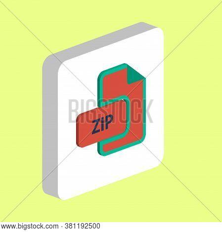 Zip Document Simple Vector Icon. Illustration Symbol Design Template For Web Mobile Ui Element. Perf