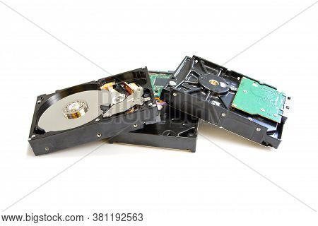 Disassambled Hard Disk Drive Isolated On White Background