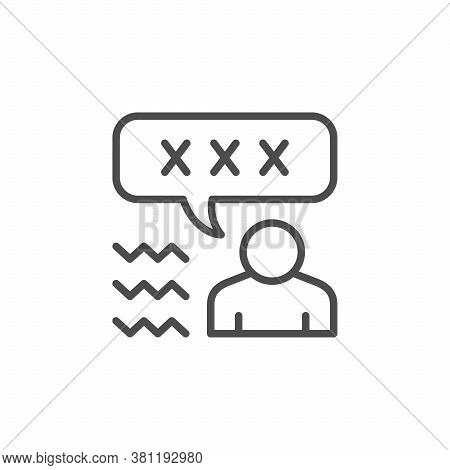 Swear Word Line Outline Icon Isolated On White. Vector Illustration