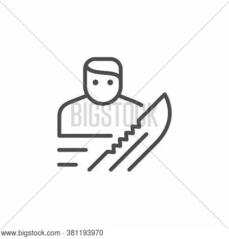 Robbery Or Burglary Line Outline Icon Isolated On White. Vector Illustration
