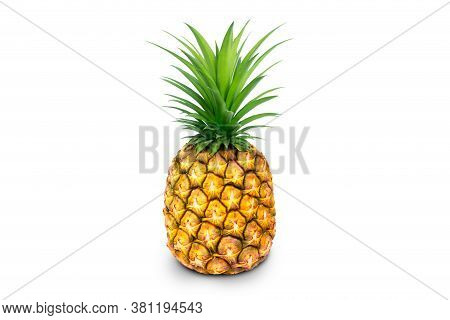 Single Whole Pineapple Isolated On White Background. Pineapple With Leaves Isolate On White. Full De