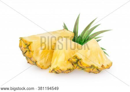 Pineapple Piece Isolated On White Background. Fresh Pineapple Chunk Macro.  Pineapple With Leaves. F