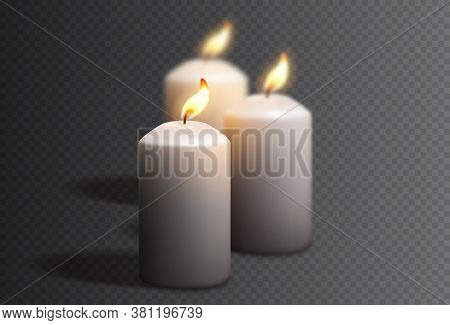 Realistic White Candles Isolated On Checkered Background. Vector Illustration With 3d Burning White