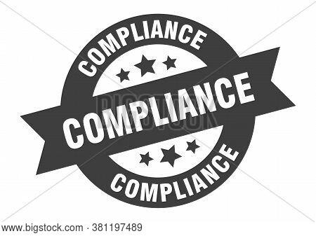 Compliance Sign. Compliance Black Round Ribbon Sticker