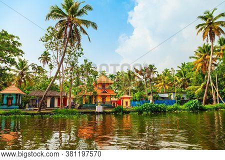 Alappuzha Backwaters Landscape In Kerala State In India