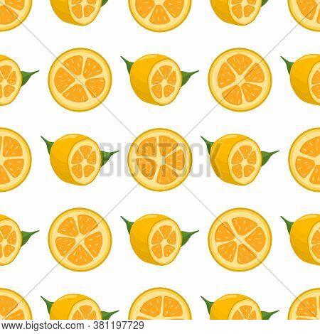 Illustration On Theme Big Colored Seamless Kumquat, Bright Fruit Pattern For Seal. Fruit Pattern Con