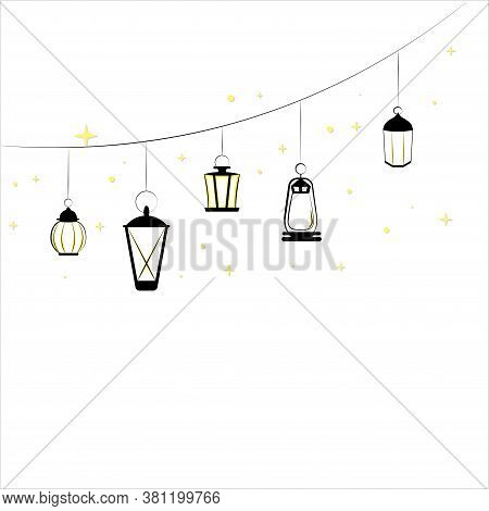 Illustration Of A Set Of Different Lighting Fixtures.