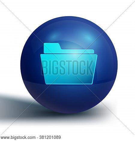 Blue Document Folder Icon Isolated On White Background. Accounting Binder Symbol. Bookkeeping Manage