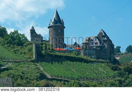 Stahleck Castle (burg Stahleck) Seen Through Grape Vines In Bacharach In Rhineland-palatinate, Germa