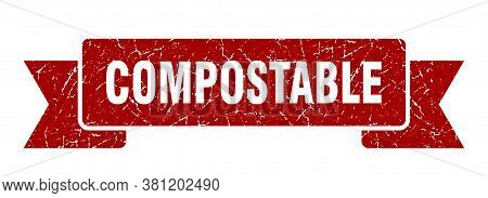 Compostable Grunge Vintage Retro Band. Compostable Ribbon