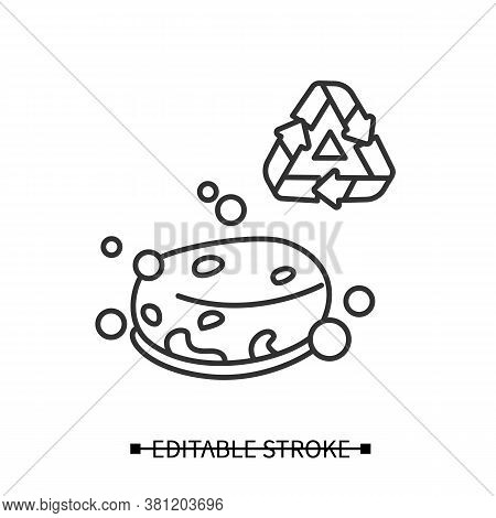 Eco Sponge Icon. Bubbly Soap Bar Or Organic Loofah Sponge With Recycling Linear Pictogram. Concept O