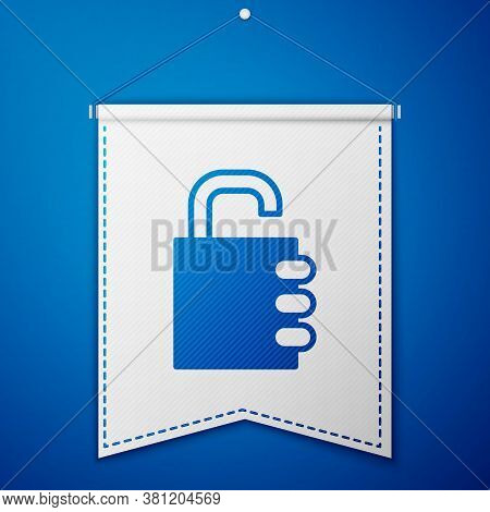Blue Safe Combination Lock Icon Isolated On Blue Background. Combination Padlock. Security, Safety,