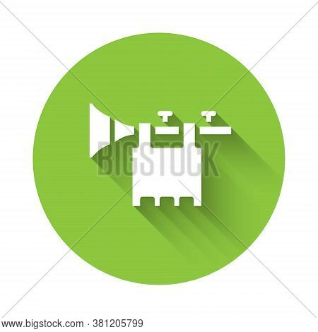 White Trumpet With Flag Icon Isolated With Long Shadow. Musical Instrument Trumpet. Green Circle But