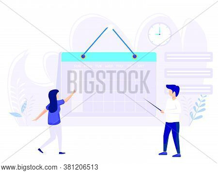 Planning Concept. Time Schedule By Showing The Time Schedule. Vector Illustration Of Teamwork And Sc