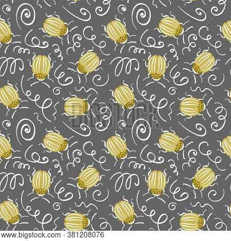 Seamless Pattern With Gold Colorado Potato Bugs And Scrawl On Gray Background. Vector Illustration.