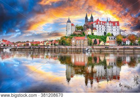 Awesome View On Albrechtsburg Castle And Cathedral On The River Elbe With Dramatic  Sunset.  Locatio