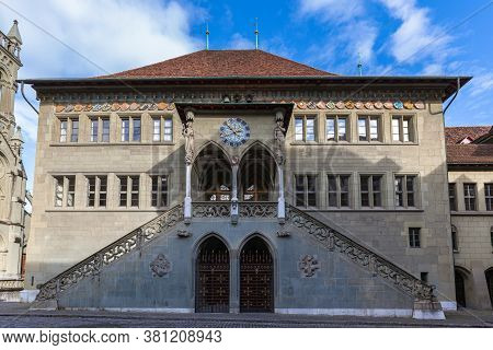 Close Up View Of The Town Hall Of Bern In The Old Town Of Swiss Capital City Bern, On A Sunny Autumn