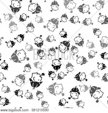 Black Sherlock Holmes With Smoking Pipe Icon Isolated Seamless Pattern On White Background. Detectiv