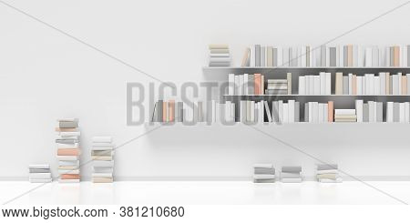 Multiple Book Shelves With Books And Stacked Books On White Wall In Room With White Floor, Literatur