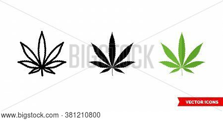 Cannabis Marijuana Ganja Icon Of 3 Types Color, Black And White, Outline. Isolated Vector Sign Symbo