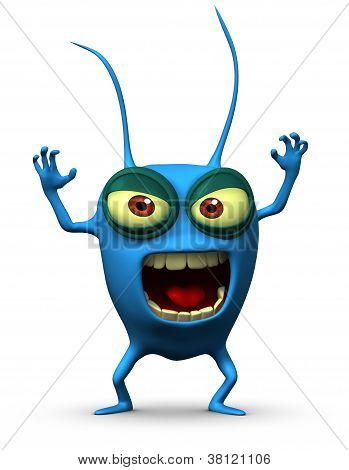 3 d cartoon cute blue computer bug
