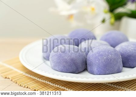 Purple Color Taro Or Yam Mochi Japanese Dessert