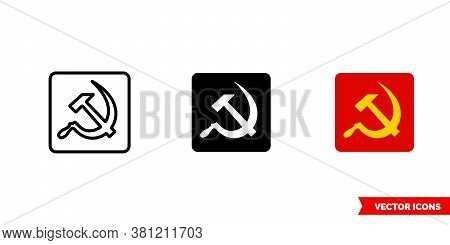 Communist Russian Symbol Icon Of 3 Types Color, Black And White, Outline. Isolated Vector Sign Symbo