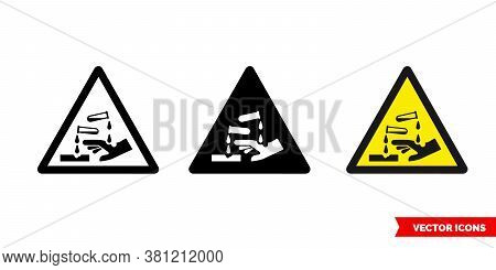Corrosive Symbol Warning Icon Of 3 Types Color, Black And White, Outline. Isolated Vector Sign Symbo