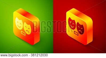 Isometric Comedy And Tragedy Theatrical Masks Icon Isolated On Green And Red Background. Square Butt
