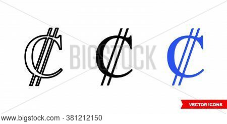 Costa Rica Colon Icon Of 3 Types Color, Black And White, Outline. Isolated Vector Sign Symbol.