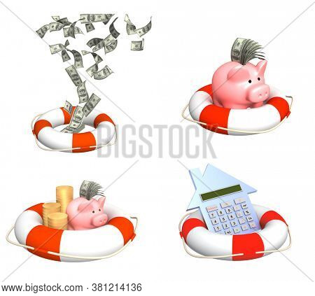 Help in financial recession. Piggy bank, dollar banknote in lifebuoy. Help in financial crisis, helping to survive. Help, support, survival, investment concept. Isolated on white background. 3d render