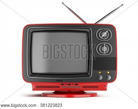 Retro Red TV receiver isolated on white background. Old Retro TV - Broadcast Stream Video concept. 3d rendering