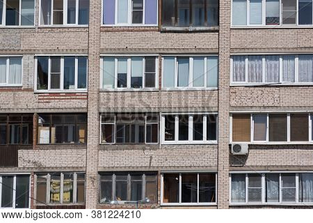 Typical facade of the panel building in the post Soviet countries