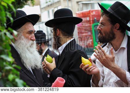 BENE BRAK, ISRAEL- SEPTEMBER 22, 2010: Religious Jews chooses ritual plant - citron- on the bazaar on the Sukkoth market.