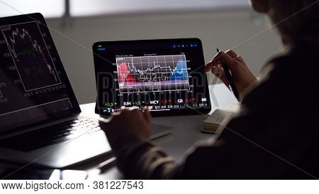 Close Up Of Female Share Trader At Desk With Stock Price Data Displayed On Laptop And Digital Tablet