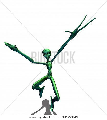 Green Alien Running