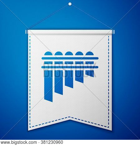Blue Pan Flute Icon Isolated On Blue Background. Traditional Peruvian Musical Instrument. Zampona. F