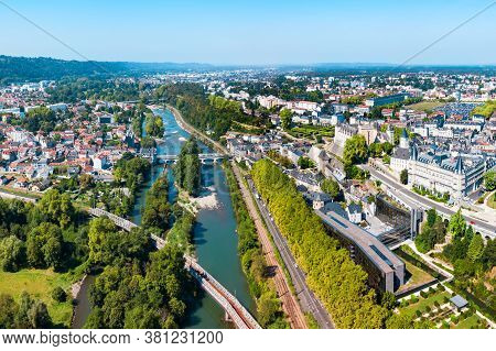 Pau Aerial Panoramic View. Pau Is A City, Commune And Capital Of Pyrenees Atlantiques In Nouvelle Aq