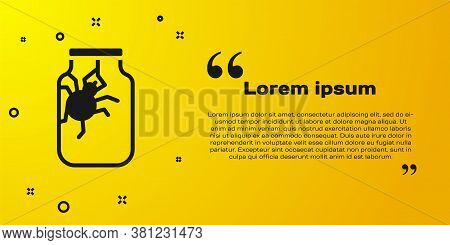Black Spider In Jar Icon Isolated On Yellow Background. Happy Halloween Party. Vector